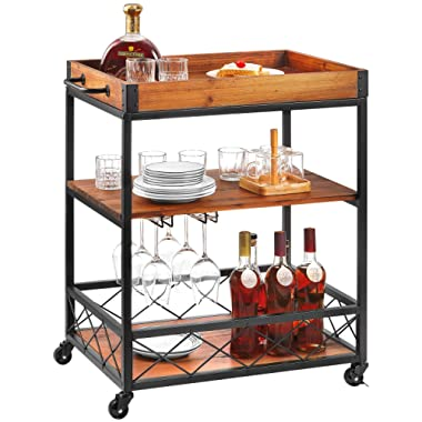 Bar Serving Cart Kealive Kitchen Island Rolling Cart, 3-Tier Storage Shelf with Rack, Bottle Holder, Removable Wood Box Container, Brown 26L x 18W x 32.5in H