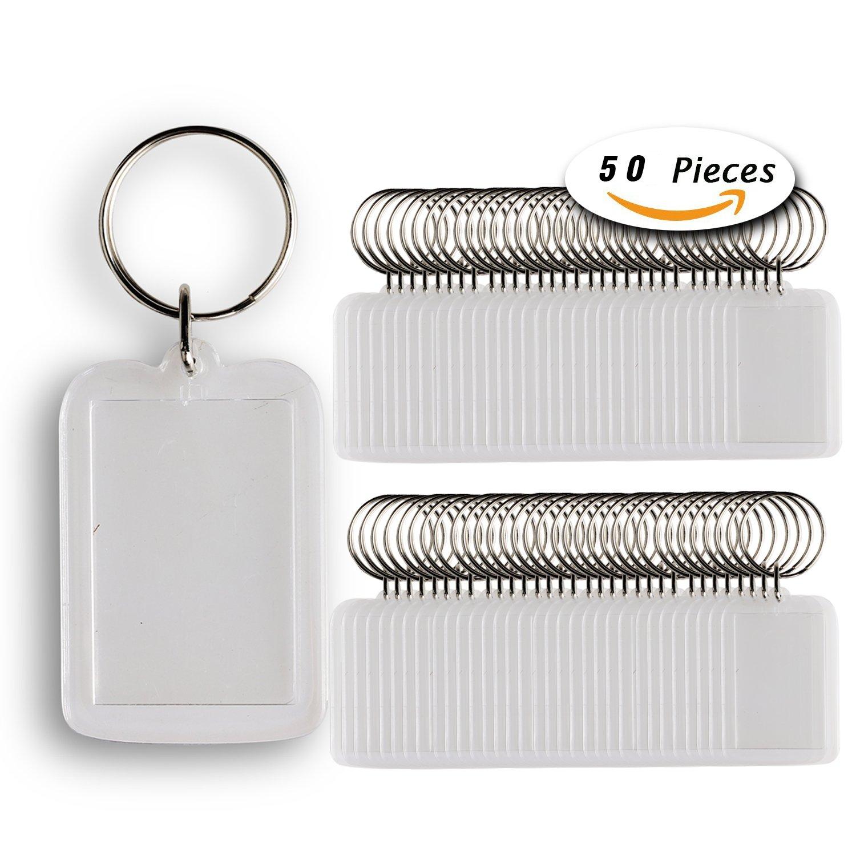 50pcs Custom Personalised Insert Photo Acrylic Blank Keyring Keychain WholeSale(size:2''x1.3'')