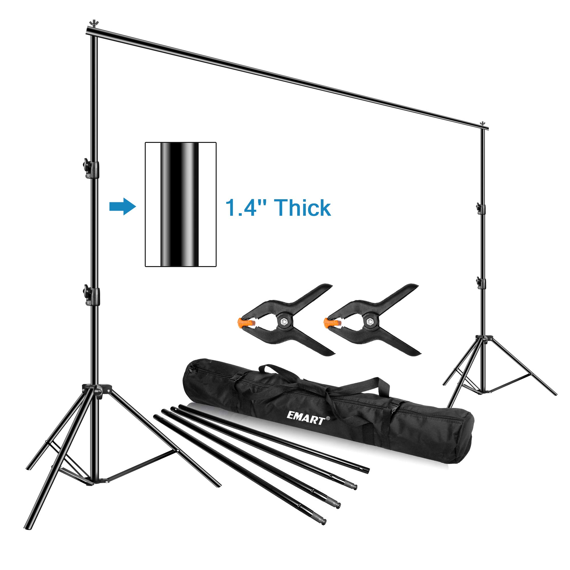 Emart Photo Video Studio Backdrop Stand, 10 x 12ft Heavy Duty Adjustable Photography Muslin Background Support System Kit by EMART