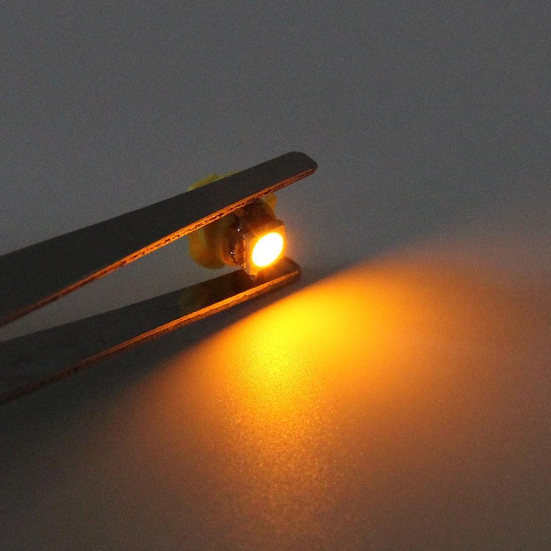 DZT1968 1X White B8.4D 5050 1-SMD Dash Auto Side Dash Gauge Instrument LED Lights Bulbs 16128mm (Yellow)