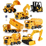 Mini Construction Trucks, GEYIIE Construction Vehicles Site for kids Engineering Toys Playset for Boys, Pull Back Cars Excava
