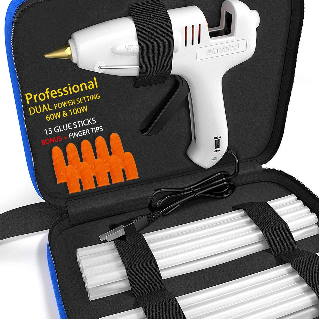 Hot Glue Gun Kit with Glue Sticks Full Size 15 Pcs, Portable Case for DIY Small Projects, Heavy Duty, Craft and Arts & Home or Industrail Quick Repair Sealing, Christmas Decoration/Gift - Dual Temp