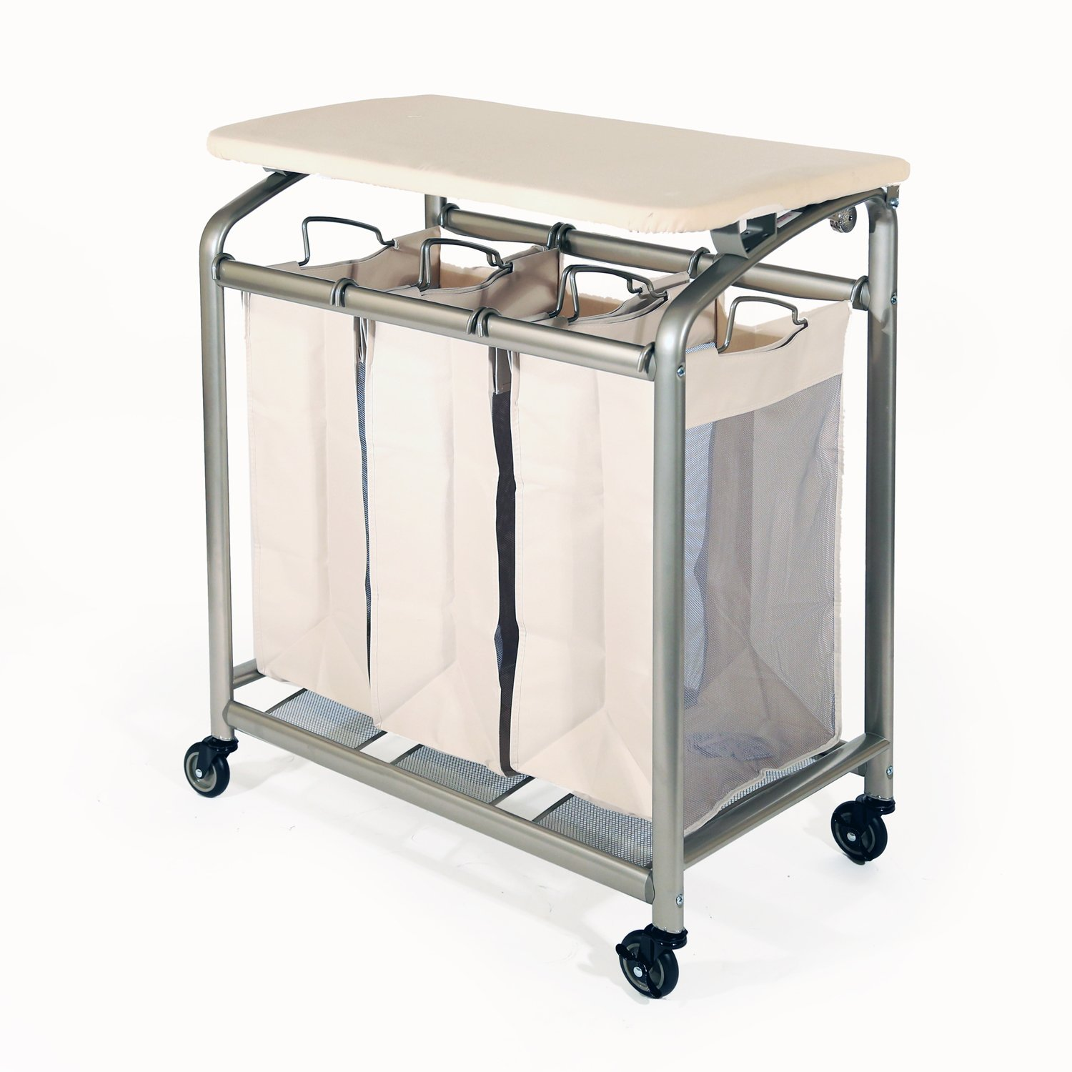 - Seville Classics 3-Bag Laundry Sorter With Folding Table By