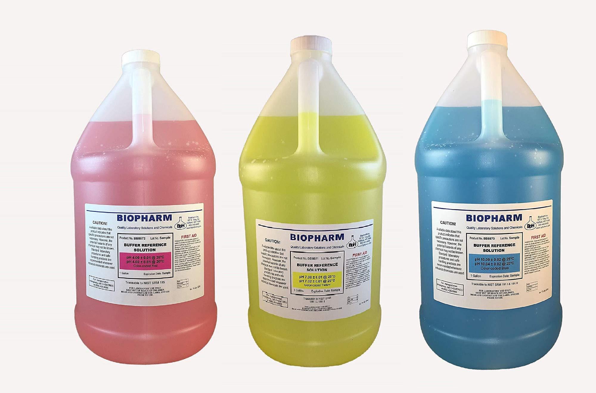 Biopharm pH Calibration Solution 3-Pack 1 Gallon Each pH 4, pH 7