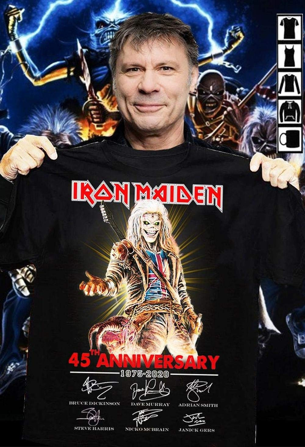 Iron Maiden Tour 2020.Iron Maiden 45th Anniversary 1975 2020 Signature Shirt Unisex T Shirt Men S T Shirt