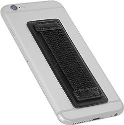 StilGut - Supporto dita per Smartphone in vera pelle con elastico, grande, Nero Nappa