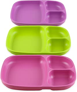 product image for Re-Play Set of 3 - Made in The USA Deep Divided Heavy Duty Dining Plates with 3 Compartments for All Ages - Bright Pink, Purple, Lime (Butterfly)