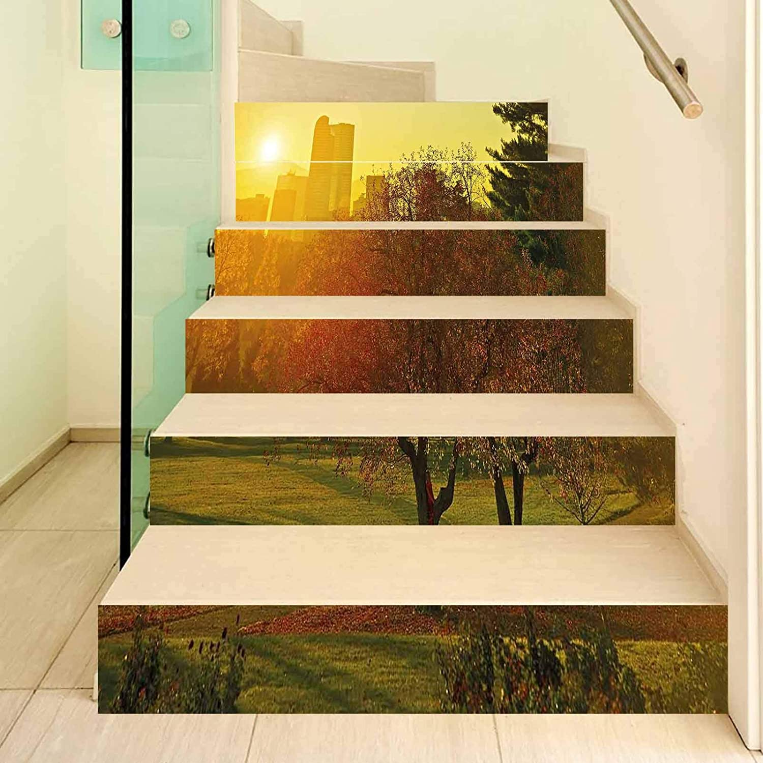 Nature 3D Stair Stickers Decals-6Pcs/Set,Sunset over the City Park Colorado Skyline Autumn Theme Scenic Picture Stair Risers Stickers Removable Staircase Decals Mural Wallpaper for Home Decor