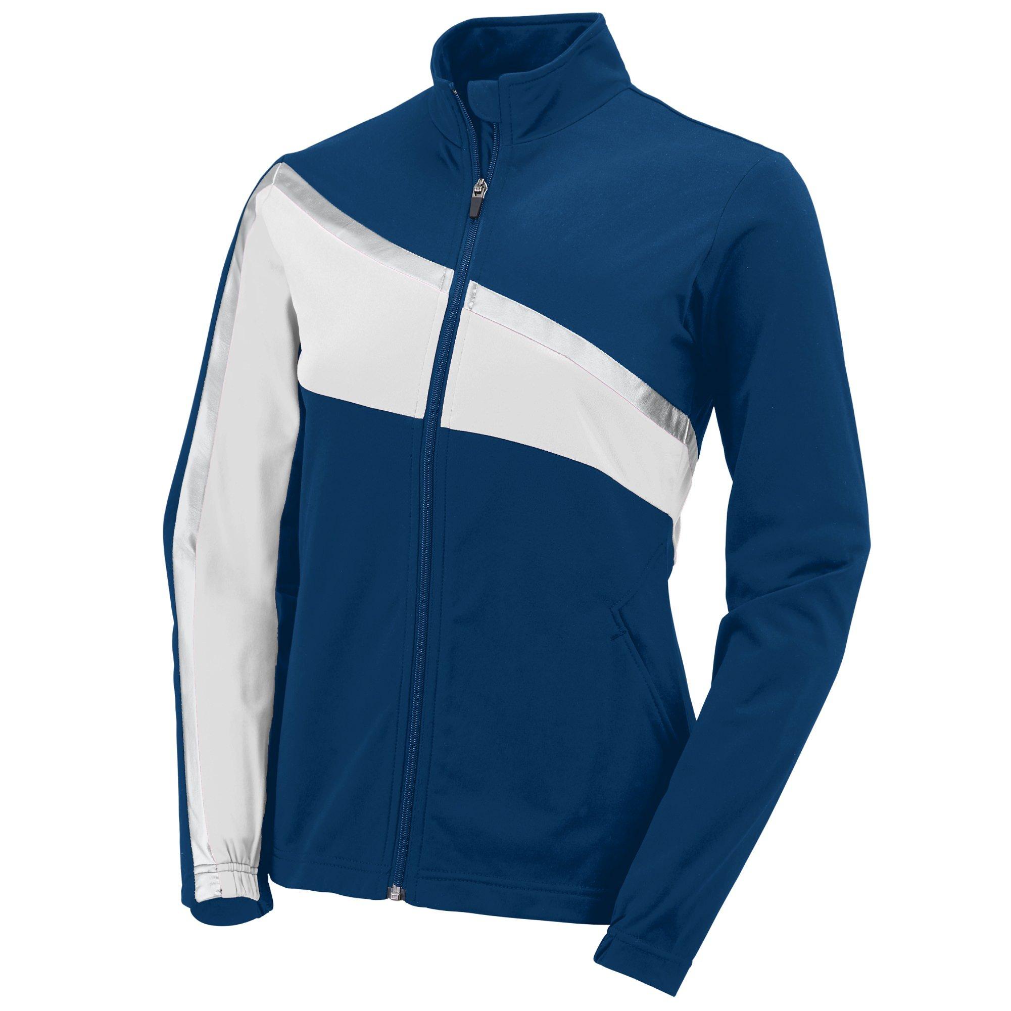 Augusta Sportswear Womens Aurora Jacket, Navy/White/Metallic Silver, XX-Large