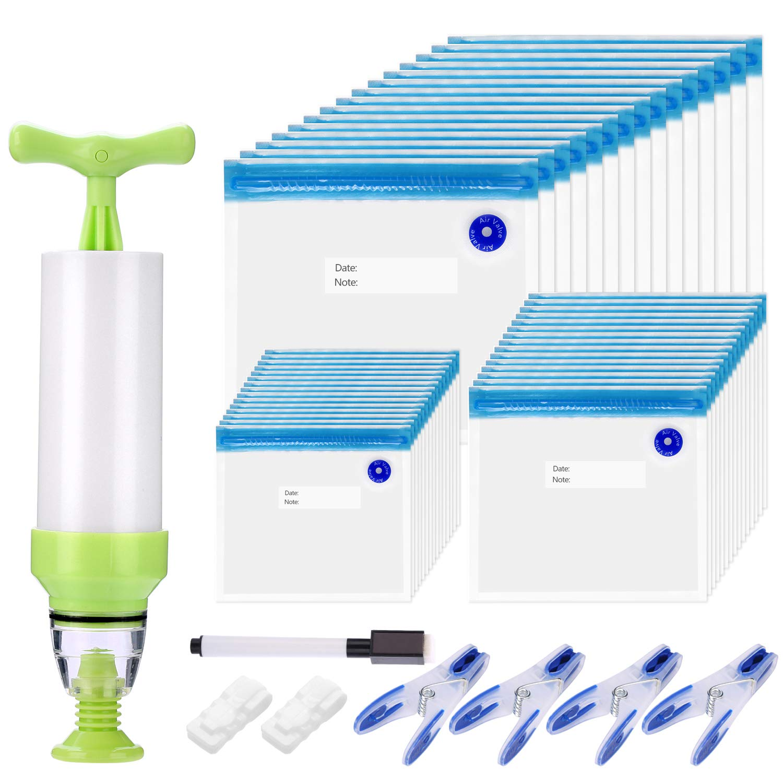 ColorGo Reusable Sous Vide Bags Kit 55 pcs for Food Storage, Includes 45 Vacuum Zipper Bags BPA Free, 4 Sealing Clips and 4 Sous Vide Bag Clip and 1 Vacuum Pump and A Marker Pen