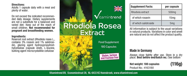 Extracto de Rhodiola Rosea 500mg – Pura – 180 Cápsulas – Vegano ...
