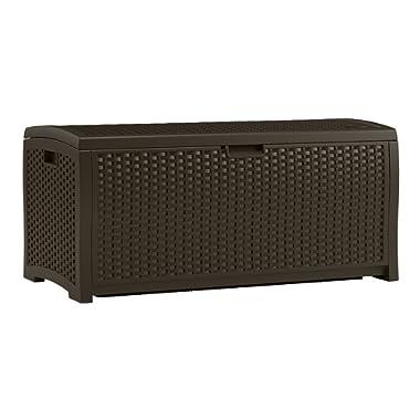 Suncast DBW7300 Mocha Wicker Resin Deck Box, 73-Gallon