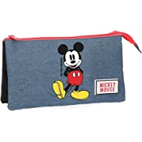 Estuche Mickey Blue tres compartimentos
