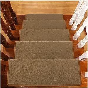 Alfombras para Escalera Autoadhesivo Peldaños De Escalera 6mm Alta Densidad Conjunto De 10 Tapetes/Alfombras para Escalera Antideslizante Protector De Piso Lavable 65x24cm (Color : D): Amazon.es: Hogar