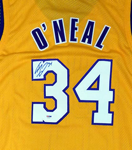sports shoes 87167 ffd5c Los Angeles Lakers Shaquille Shaq O'Neal Signed Auto Yellow ...