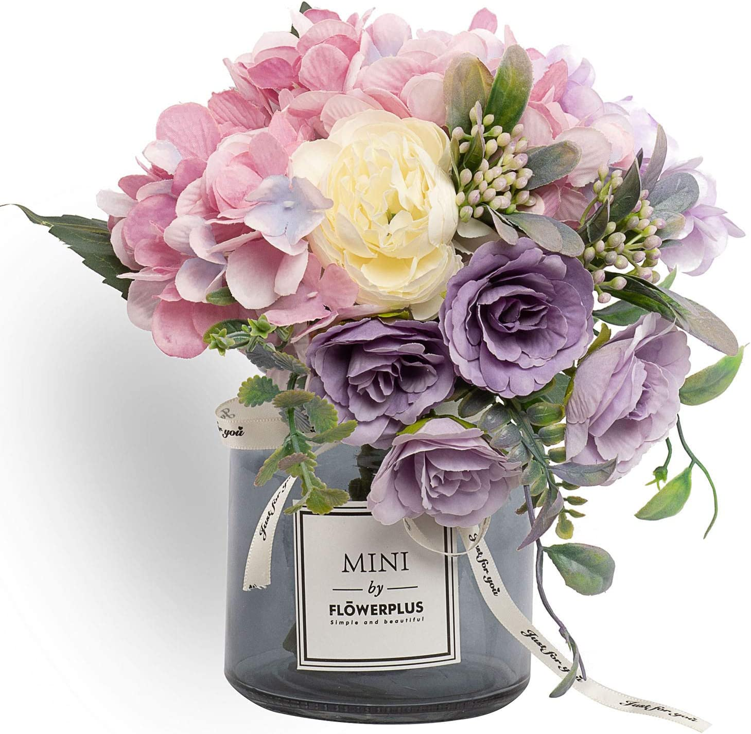 Artificial Rose Flower Bouquet Set, Hydrangea Hand Bouquet and vase, Ins Style Artificial Flower Set, Suitable for Living Room, Dining Table, Office, Wedding, Hotel Banquet Home Decoration?(Purple