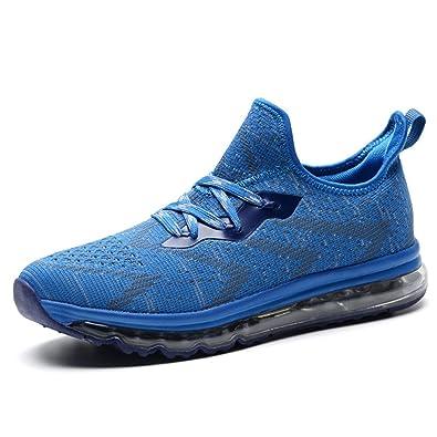 ZENGVEE Herren Laufschuhe Outdoor Straßenlaufschuhe Sportschuhe Atmungsaktiv Gehende Turnschuhe Sneakers White 45 OOp1Ls