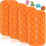 4 Pcs Halloween Chocolate Molds Halloween Molds Silicone, Non-stick Halloween Baking Molds for Chocolate Candy Fondant Cake D