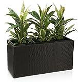 Pflanztrog Blumentrog VISIO 50 Polyrattan Pflanzkübel - Maße: 100x40x50 cm, Farbe: schwarz - wetterfester und UV-beständiger Blumenkübel