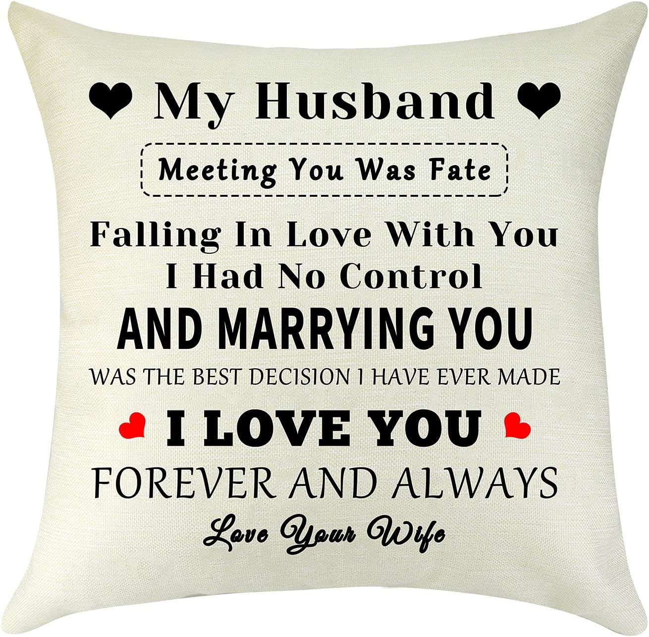 Mikela Husband Birthday Gifts from Wife Pillow Cover Pillow Case to My Husband I Love You Gift to My Men Valentine's Day Gift Cotton Linen Square Cushion Cover for Sofa Bedroom Decorative