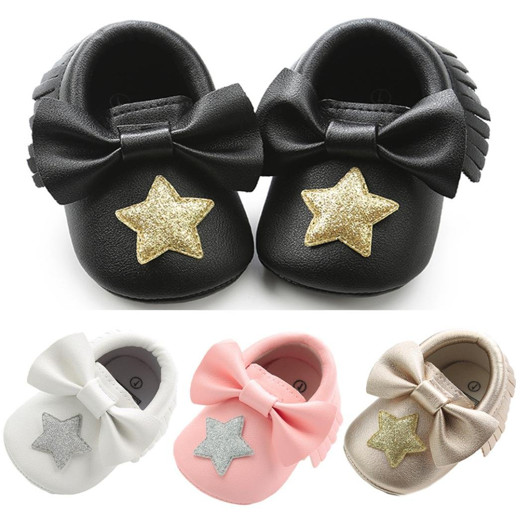 Highpot Baby Girls Moccasins Soft Sole Crib Shoes Bowknot Tassel Leather Shoes