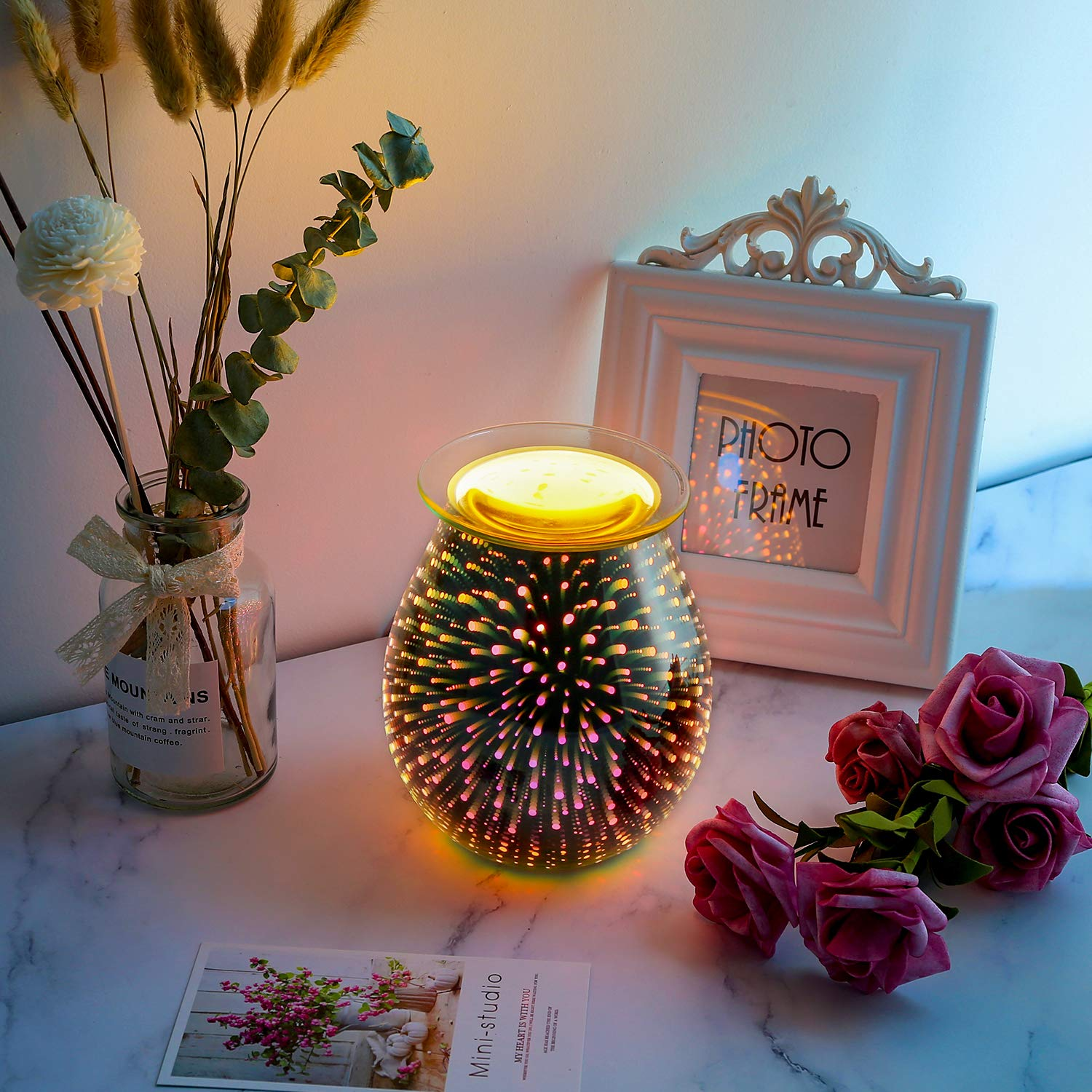 Electric Oil Warmer COOSA 3D Effect Starburst Fireworks Glass Wax Tart Burner Fragrance Candle Warmer Incense Oil Night Light Aroma Decorative Lamp for Gifts, Decor for Home Office by COOSA (Image #3)