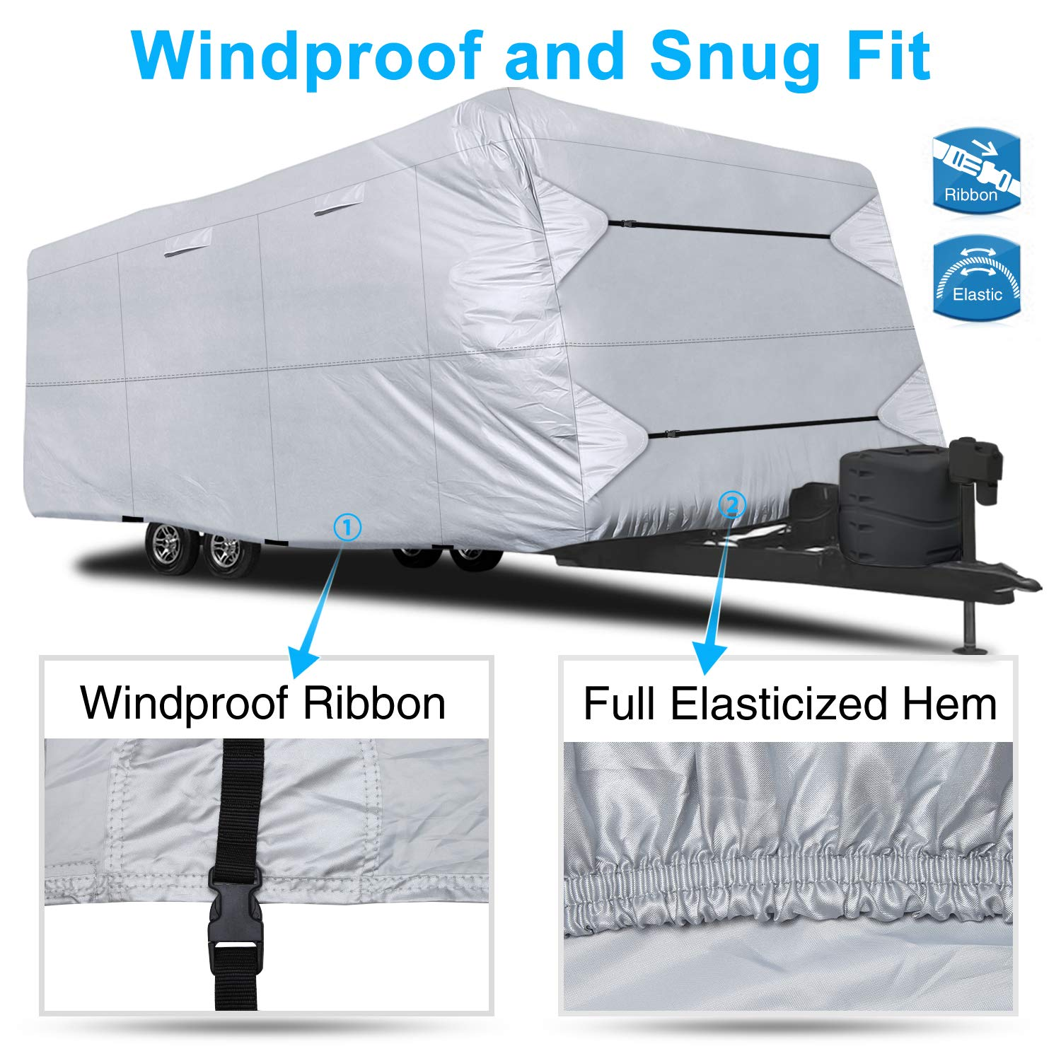 Fits 261-286 RVs RVMasking Durable /& Lightweight Travel Trailer RV Cover Breathable Waterproof Anti-UV Ripstop Camper Cover with Adhesive Repair Patch