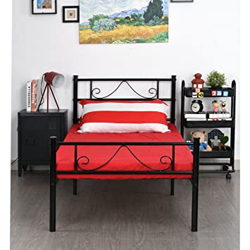 greenforest twin size metal bed frame with stable metal slats stable headboardblack - Bed Frames Amazon
