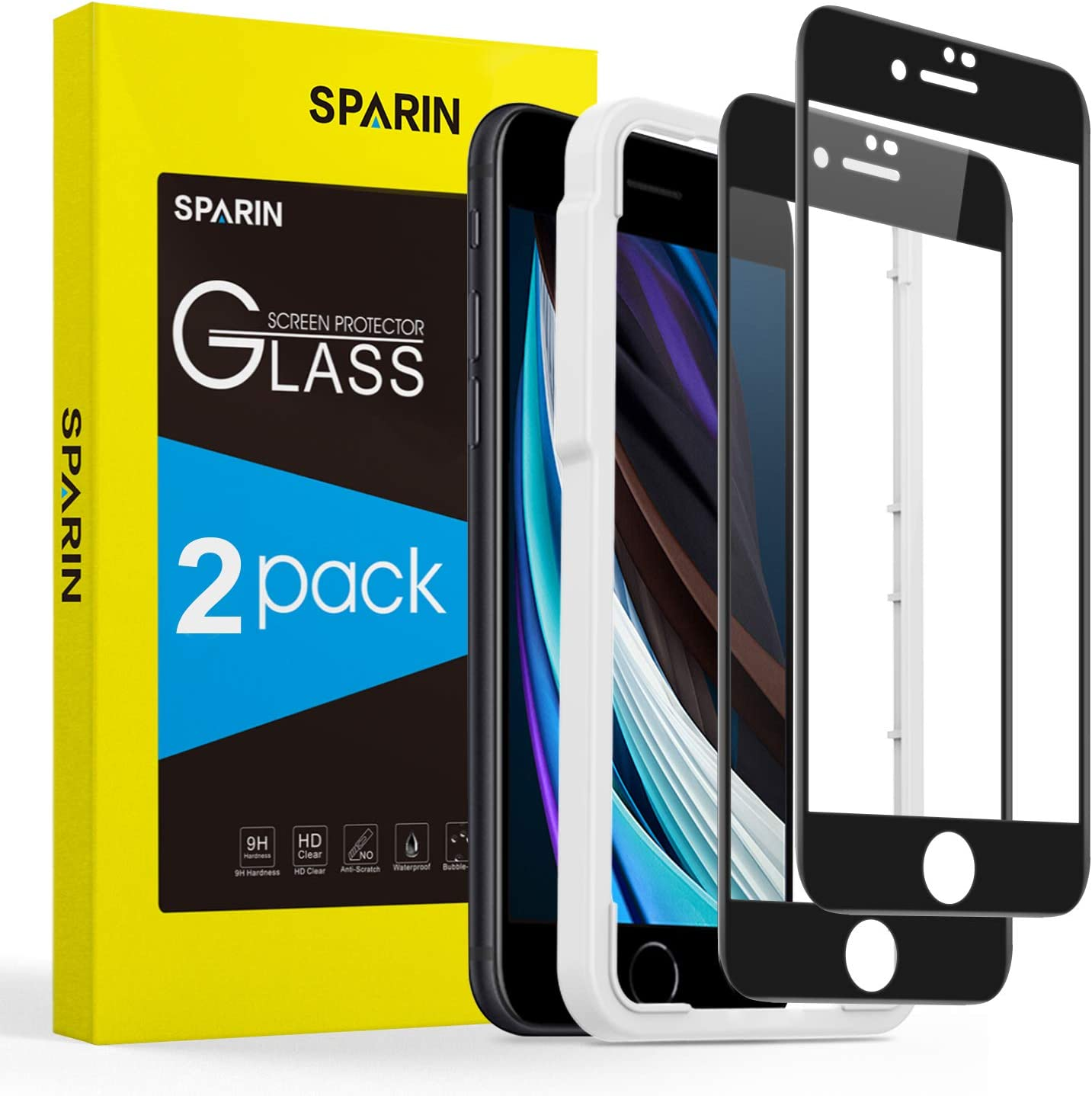 SPARIN [2-Pack] [Cubre toda Pantalla] Protector Pantalla iPhone 8/7/6s, Cristal Templado iPhone 8/7/6s, [Cristal + Resina] Vidrio Templado con [9H Dureza] [Alta Definicion]: Amazon.es: Electrónica