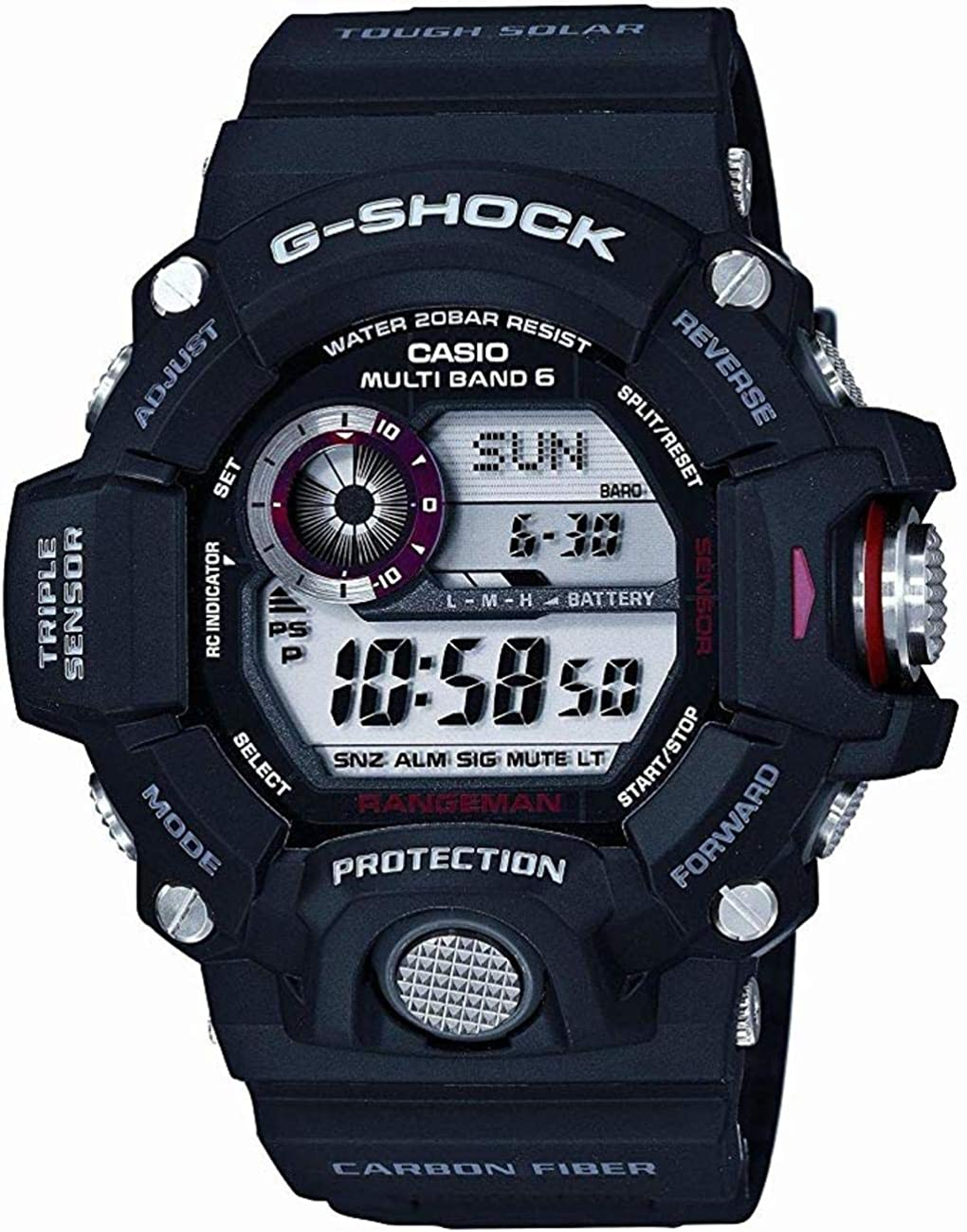 Casio Men's GW-9400J-1JF G-Shock Digital G Rangeman Series Multiband 6, Black Watch