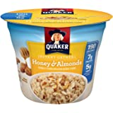 Quaker Instant Oatmeal Instant Oats Express Cups, Honey & Almonds, Breakfast Cereal, Individual Cups, 1.76 oz Cups (Pack of 12)