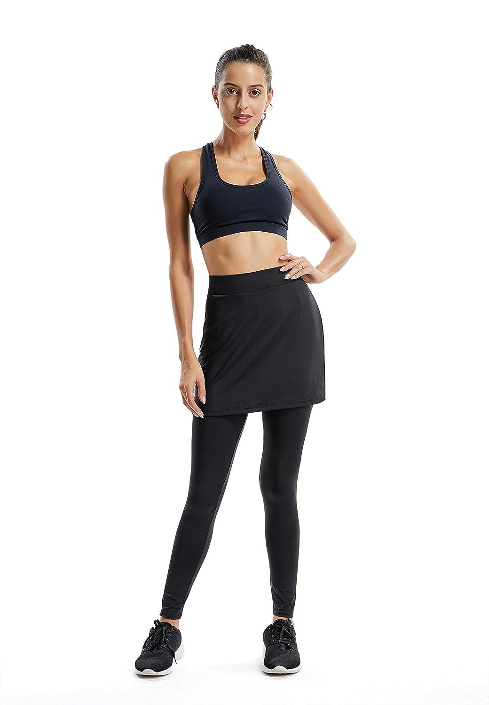 Fulture Direct Womens Sports Casual Athletic Skirted Leggings Skirted Capri Leggings Tennis Swim Pants Tight Sport
