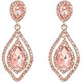 NLCAC Women Pear Shape Crystal Earrings Dangle Teardrop Rhinestone Chandelier Bridal Earring for Wedding