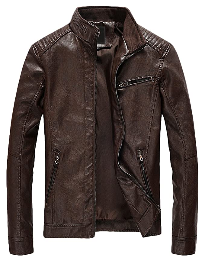 Review Youhan Men's Casual Zip up Slim Bomber Faux Leather Jacket