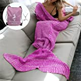 MOSTON Knitting Pattern Mermaid Tail Blanket, Soft and Warm Mermaid Tails Sleeping Bag Air Conditioning Blanket Slumber Bag Cute Mermaid Gift 180X90cm (70.8X35.4 inch) (Purple Pink-Adult)