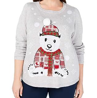 Karen Scott Falling Snow Holiday Snowman Sweater,