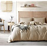 Luxury Quality Stone Washed Microfiber Taupe Duvet Cover Queen Size 3 Pcs Set (1 Duvet Cover, 2 Pillowcases) Ball Fringe Patt