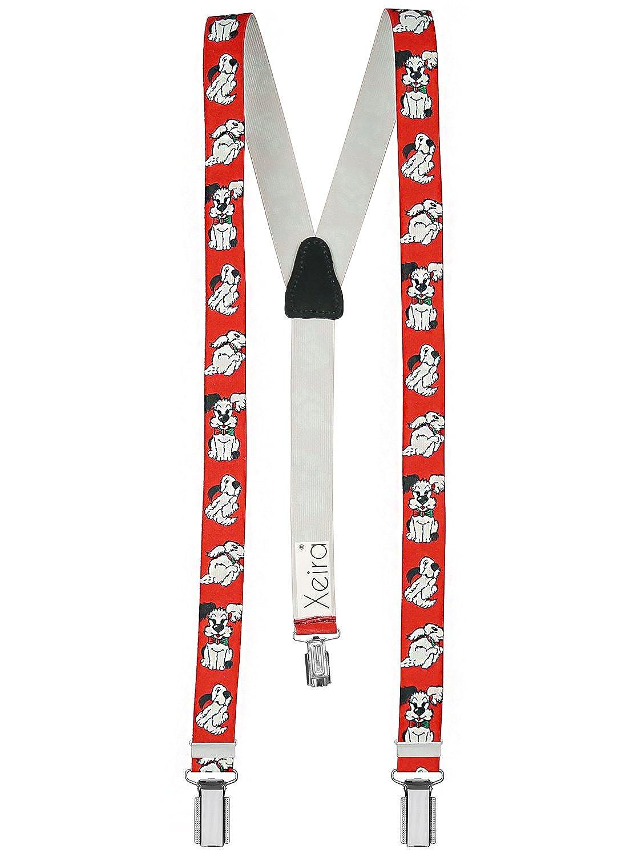 Xeira  Bretelles pour enfants de haute qualité avec empiècement en vrai cuir petit chien Design/Bleu Foncé/Blanc / Rouge