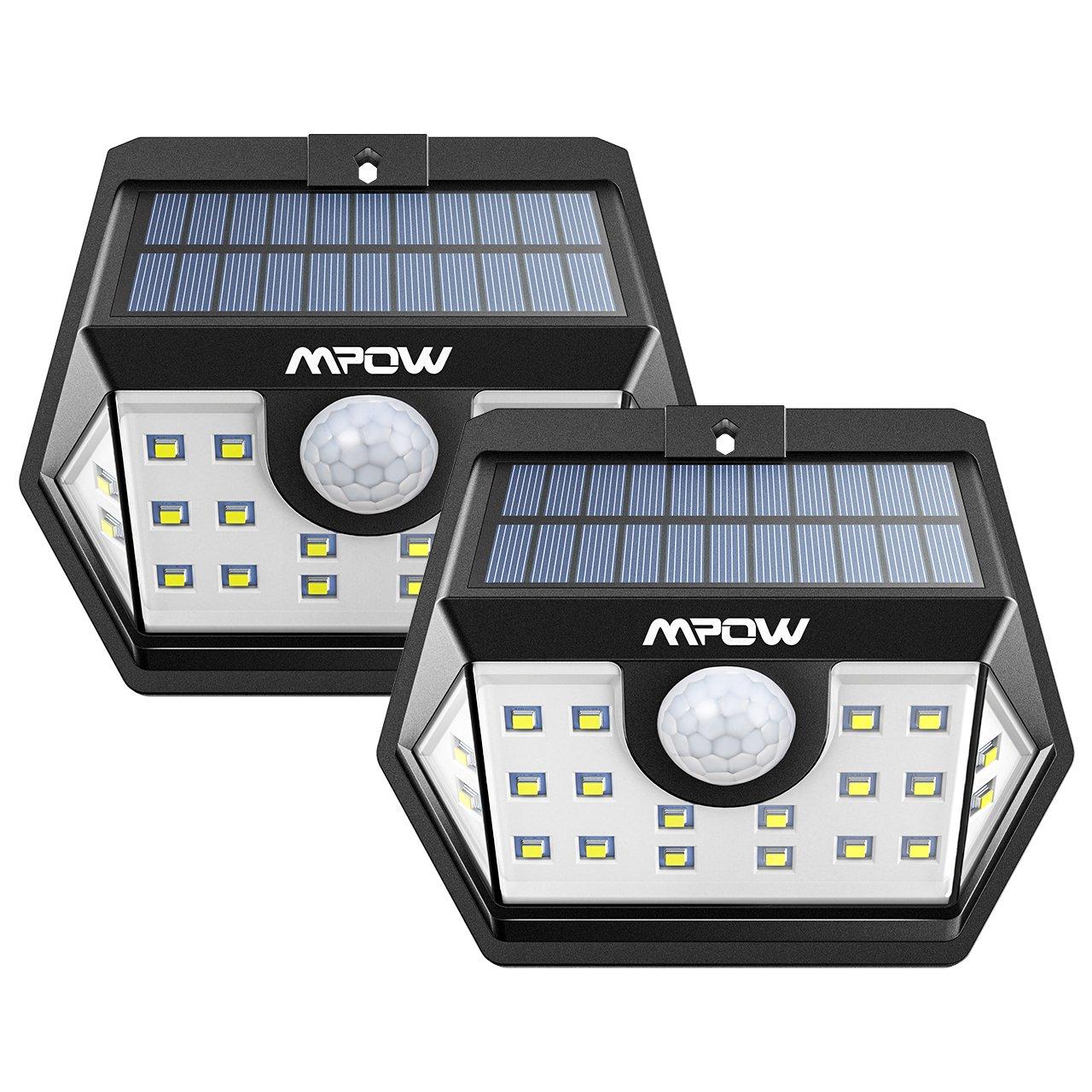 【ERWEITERTE VERSION】Mpow Weitwinkel Solarleuchte, 20 LED Superhelles Solarlicht Garten Mit Bewegungsmelder, 2 Stücke Solarbetriebene Sicherheitswandleuchte, Verbesserte 120 ° Weitwinkel Sensorkopf, Wasserdicht, Hitzebeständig, für Garten Garage Auffahrt Pf