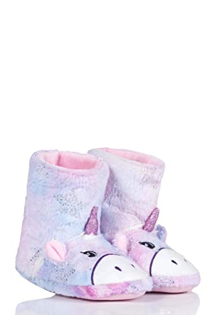 5aeeb14c359 Amazon.com  Totes Girls Lined Bootie Slippers Pack of 1 Unicorn 9-10 ...