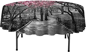 Aishare Store Round Tablecloth NYC Decor Collection Blossoms in Central Park Cherry Bloom Trees Forest Spring Springtime Landscape Picture Great for Buffet Table D39 Inch Pink Gray