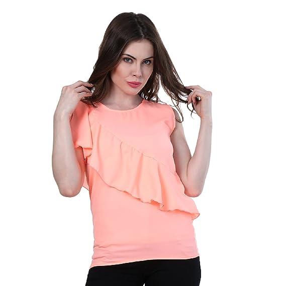 77785f9d6734b4 DIMPY GARMENTS BuyNewTrend Peach Ruffle Sleeveless Crepe Top for Women