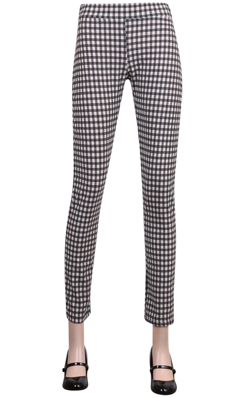 ililily Black & White Gingham Check Lightweight Stretch Elastic Waistband Pants (pants-188-1-3XL)
