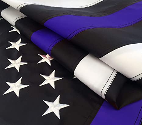 adefd1274816 Thick Blue Line Flag 3x5 ft with Embroidered Stars - Sewn Stripes - Brass  Grommets -
