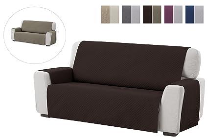 textil-home Funda Cubre Sofá Adele, 2 Plazas, Protector para Sofás Acolchado Reversible. Color Marrón