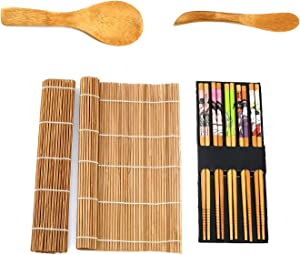 Sushi Making Kit with 2 Rolling Mat Pads, Rice Paddle, Knife Spreader & 5 Pairs of Chopsticks, Easy DIY Bamboo Sushi Maker Roller to Roll Sushi with or without Nori Sheets by Moon Mystique Home Decor
