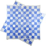 Deli Squares - Wax Paper Sheets (12 x 12) (Pack of 100) (Checkered Blue)