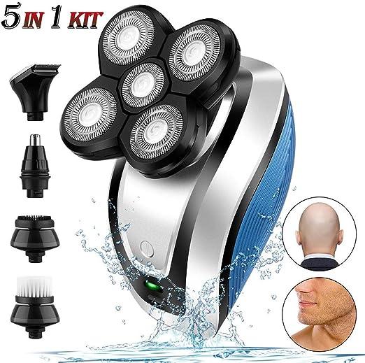 LTLGHY Maquinilla De Afeitar Eléctrica para Hombres, Nuevo 5 En 1 Impermeable 5D Shaver Trimmer Grooming Kit, Afeitadora USB Recargable De Cabeza Calva con 5 Cabezales Flotantes: Amazon.es: Hogar