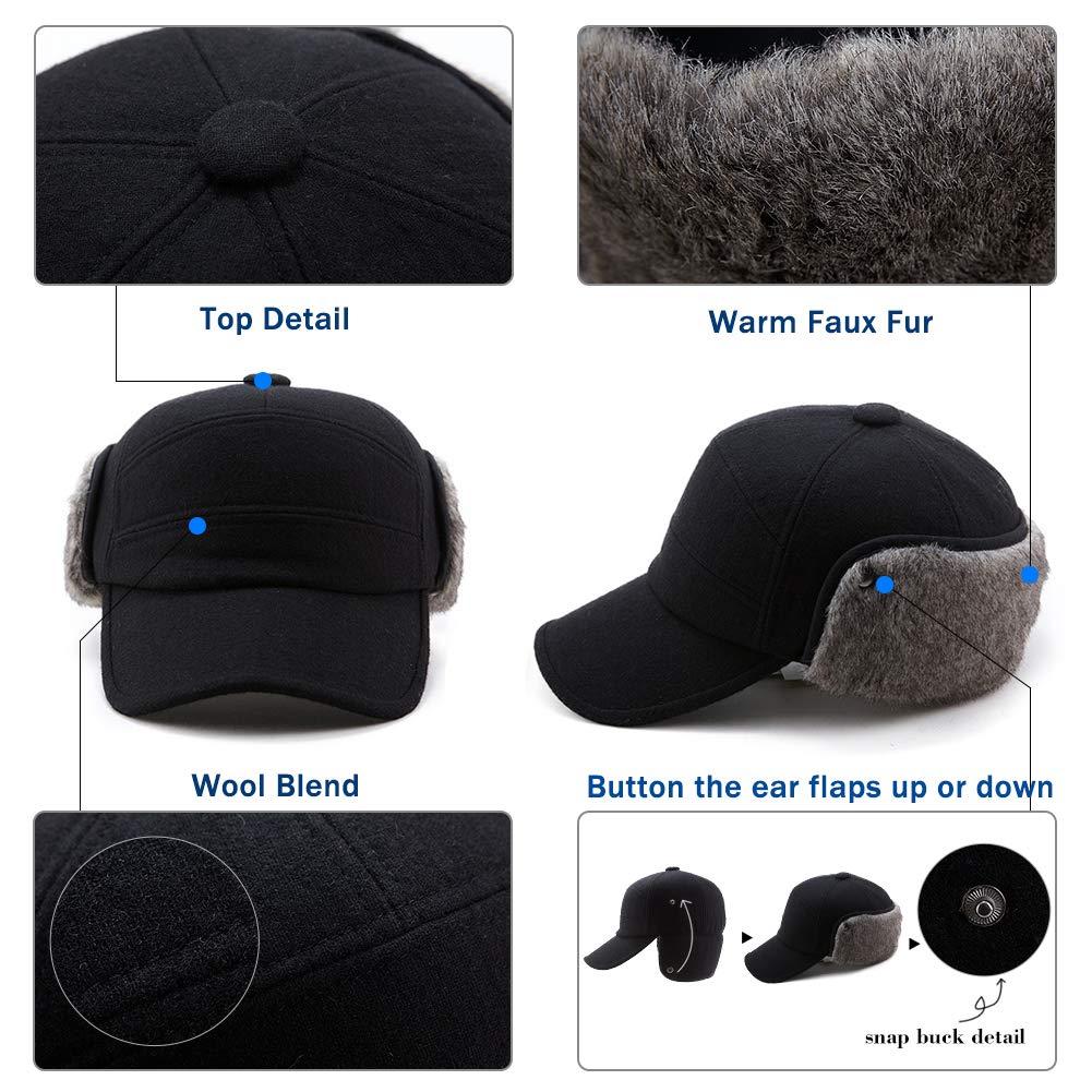 Mens Fitted Wool Baseball Cap Faux Fur Earflap Hunter Winter Army Elmer Fudd Hat Black by Fancet (Image #5)