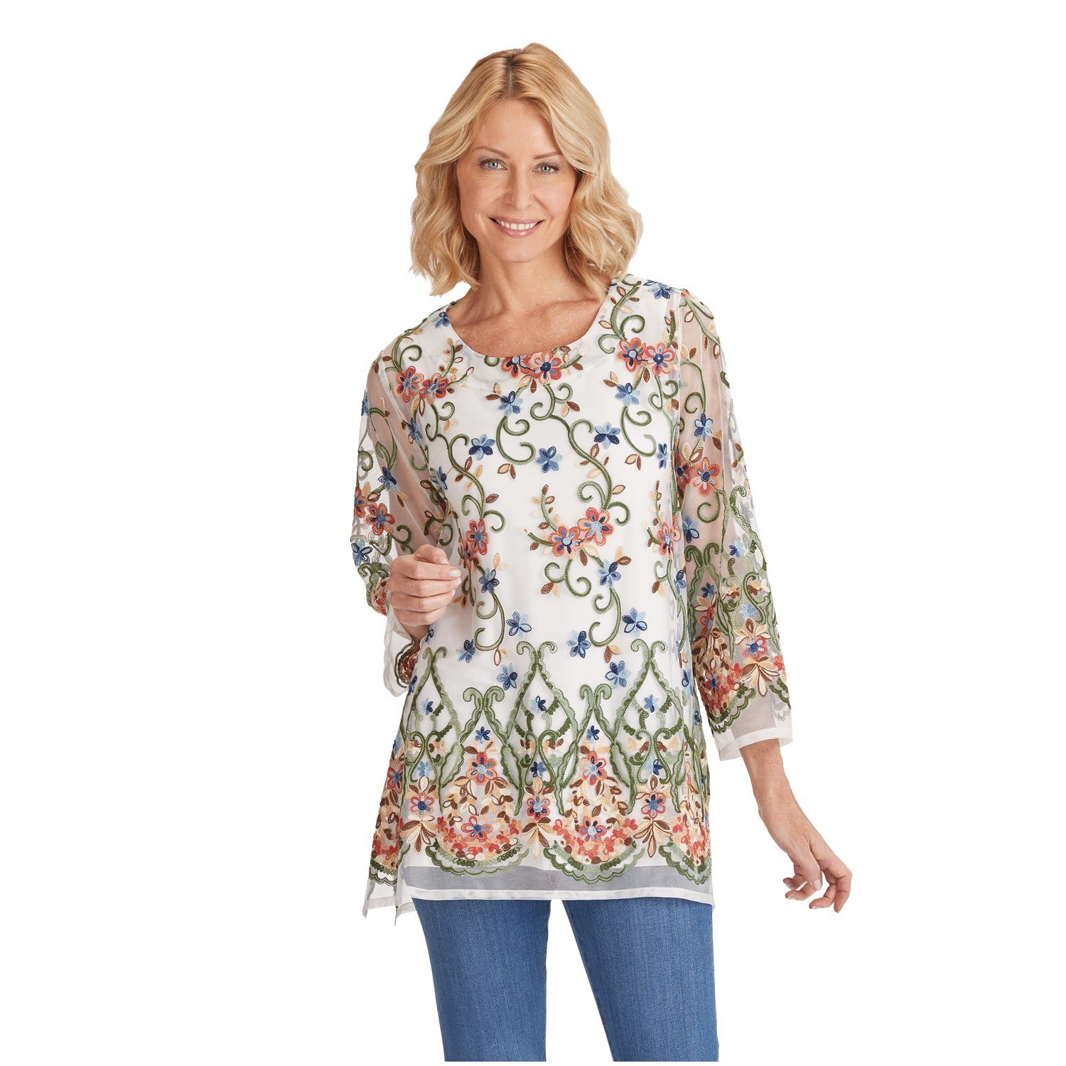 CATALOG CLASSICS Women's Embroidered Long Fit Tunic Top - Long Sleeved Scoop Neck Sheer Blouse - 2X